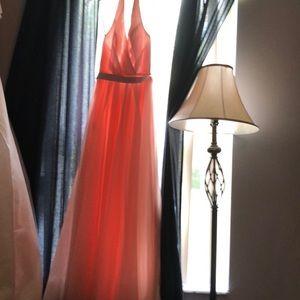 Pink chiffon David's bridal formal dress